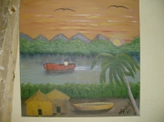 tableau paysages cases africaines bord riviere : cases africaines